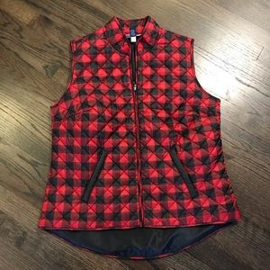 Karen Scott Buffalo Check Red Black Vest Medium M